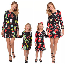 2018 Family Matching Outfits Christmas Dress Snowflake Stockings Printed Casual Parent-child Outfit Long Sleeve Clothes
