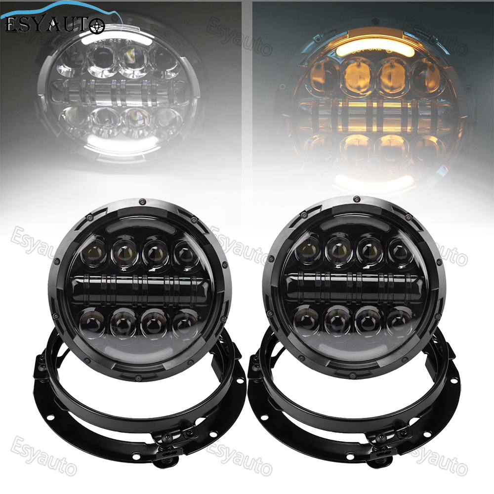 7 inch Angle Eye Headlight 80W Amber Signal LED Lamp Round Auxiliary Passing Daymaker +7 headlight Bracket Ring for Jeep