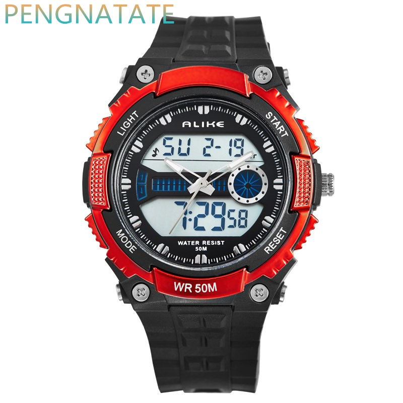 цена на Men Watches ALIKE Watch LED 50M Waterproof Digital Analog Quartz Watch Wristwatch Timepiece For Man Boy Sports Watch PENGNATATE
