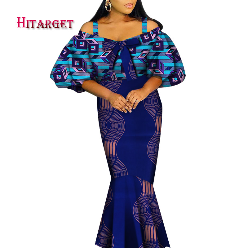 African Clothes For Women Fashion Dress Dashiki Women Offer Shoulder Dress Pluz Size Cotton African Clothing For Party WY4873