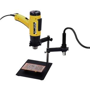 Image 5 - NEWACALOX שלישי Pana יד אוויר חם אקדח מסגרת PCB לוח מחזיק חום אקדח Stand עוזר הידיים הלחמה כלי 3X LED מגדלת זכוכית