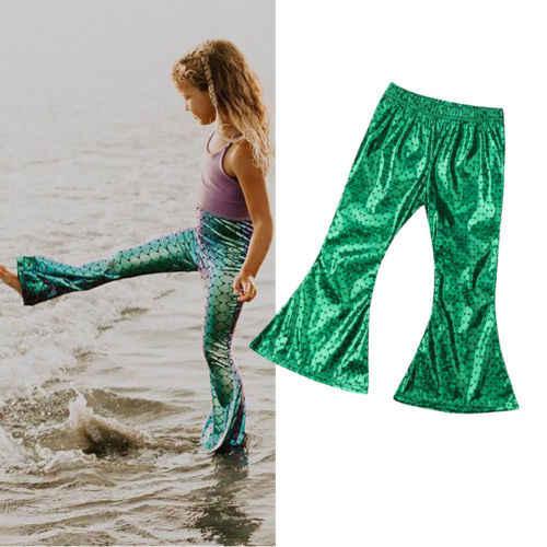 2019 vente chaude mode bébé filles écorcheur sirène Leggings mignon large Long pantalon belle pantalons enfants nouveau