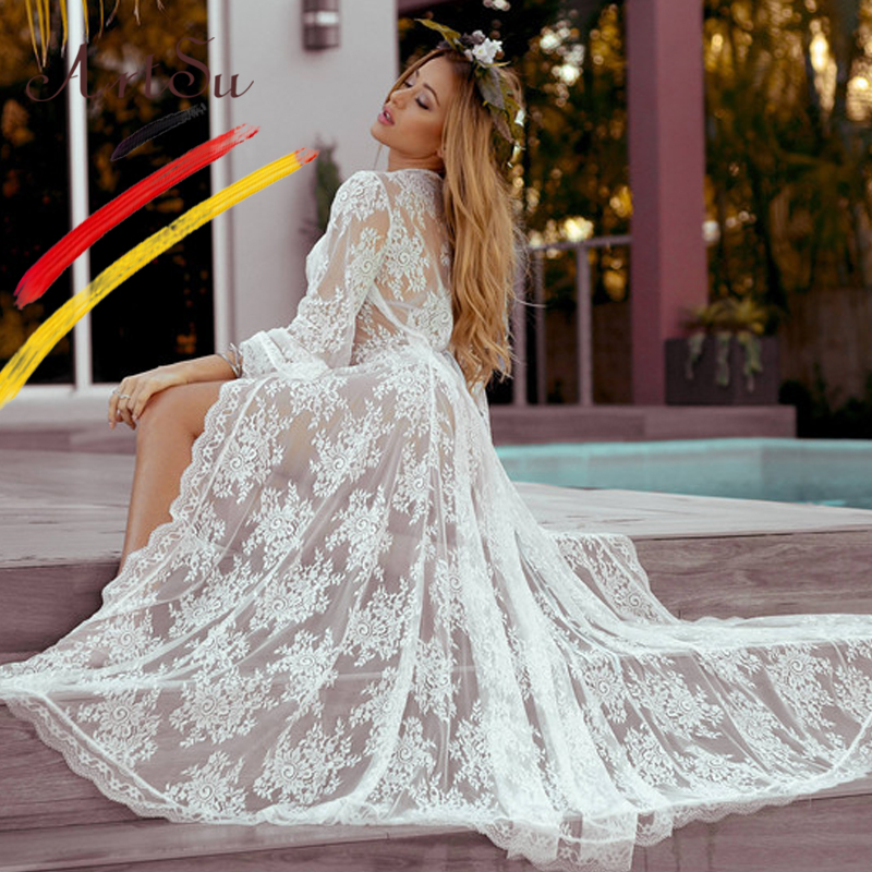 ArtSu Sexy See Through Photography White Maxi Lace Dress Women Floral Print Party Dress Lace Up Open Stitch Beach Robe Femme
