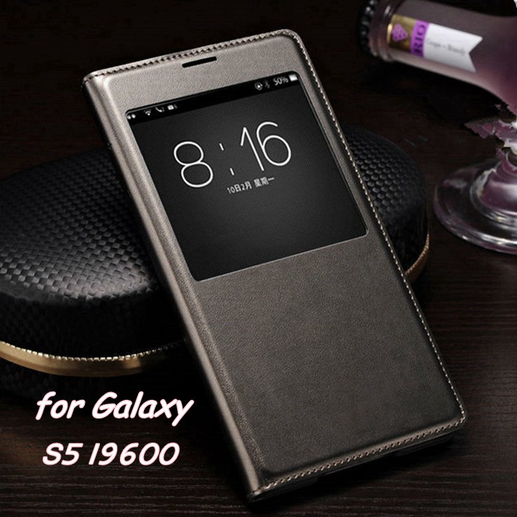 Slim Leather Flip Cover Case til Samsung Galaxy S5 S 5 i9600 Smart Sleep Wake up View Telefonkasse til S5 med vandtæt chip