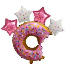 5pcs Due dolce Rosa Ciambelle Aerostati della Stagnola Baby Shower Felice Festa di Compleanno Decorazione di cerimonia nuziale Gonfiabile Elio Giocattolo Per Bambini globos