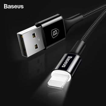 8d8d7c11d61 Baseus iluminación Cable USB para iPhone X XS X Max XR 8 7 6 6 s Plus 5 5S  SE iPad cargador de carga rápida cable de datos Cables de teléfono móvil