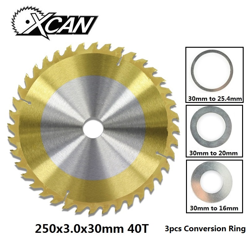 XCAN 1pc 250x30mm 40T TCT Circular Woodworking Circular Saw Blade TiN Coating Wood Cutting Disc Saw Blade