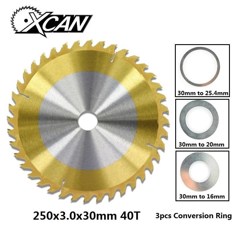 XCAN 1pc 250x30mm 40T TCT Circular Woodworking Circular Saw Blade TiN Coating Wood Cutting Disc Saw Blade