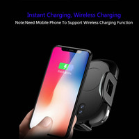 New Arrival 15W Car Infrared Sensing Wireless Charging Mobile Phone Holder Air Outlet Center Console Auto Phone Fast Charger