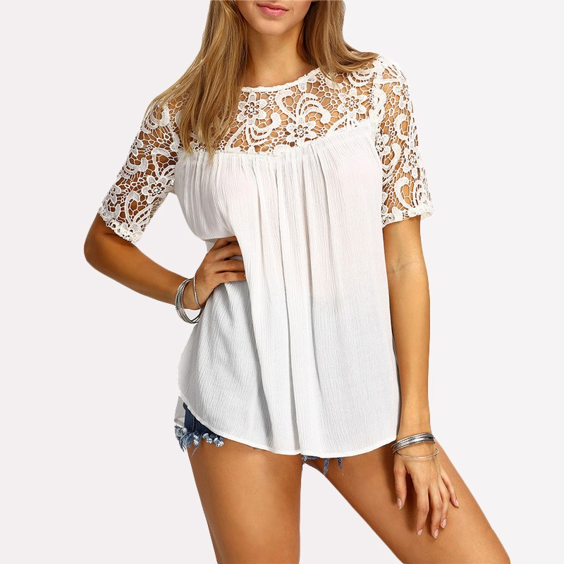 Pregnant Women Blouses Lace Chiffon Splice Shirts 2018 Summer Casual Loose Short Sleeve  ...