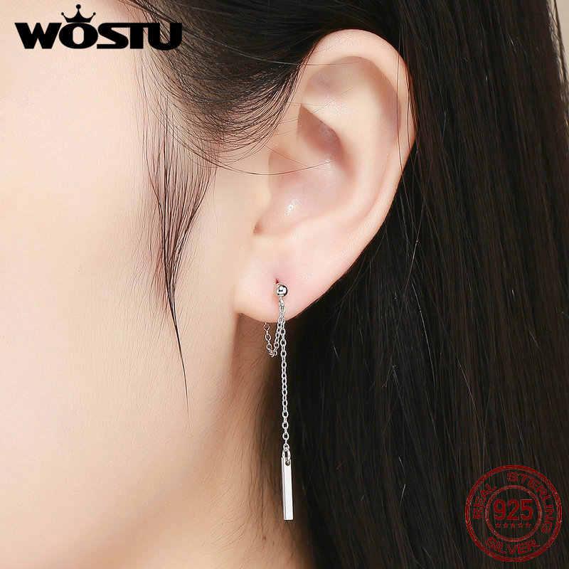 WOSTU Klassische 925 Sterling Silber Geometrische Lange Linie Drop Ohrringe Für Frauen Hochzeit Engagement Minimalistischen Stil Schmuck FIE550