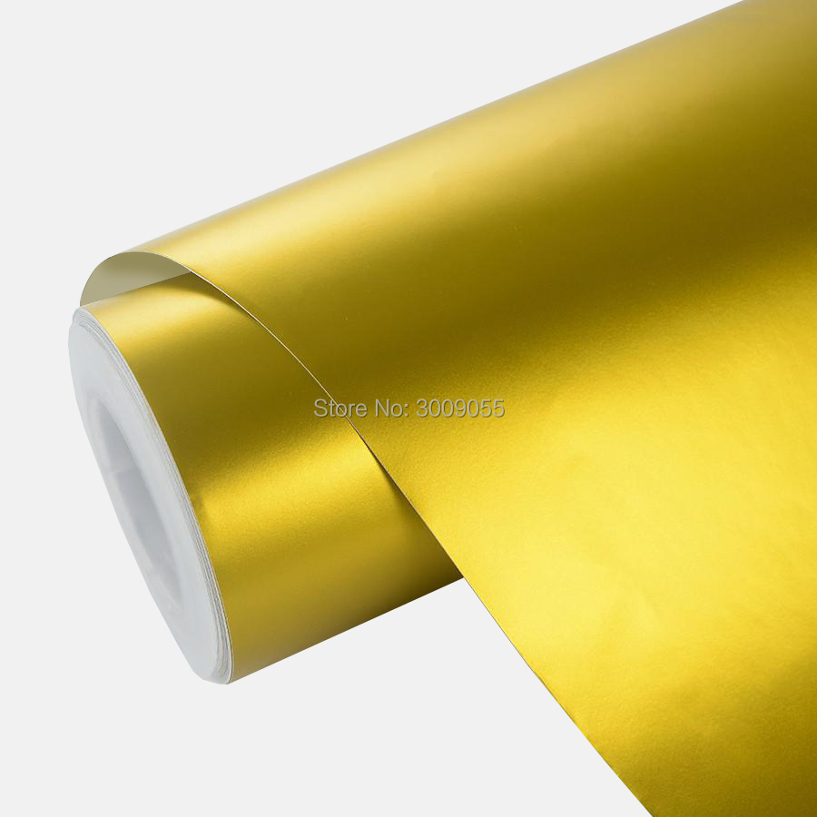 Premium gold Matt Chrome Vinyl Car Wraps Self Adhesive PVC Motorcycle Decals low initial tack adhesive  5m/10m/20m