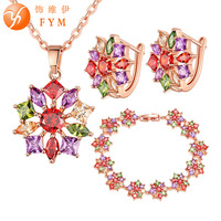 FYM Brand 3 Pcs Sets Colorful Cubic Zirconia Bridal Jewelry Sets Wedding Necklace Earrings Sets Engagement