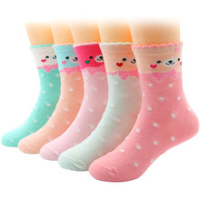 5 Pairs/Lot Girls Socks for Toddler Children Kids Cute Fashion Casual Cotton Socks 1-12 Years(China)