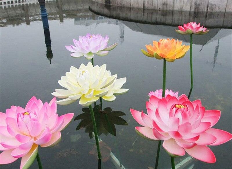 1Pc 16cm Artificial EVA Lotus Flower With Long Stem Aquarium Fish Pond Scenery Garden Pool Decorative