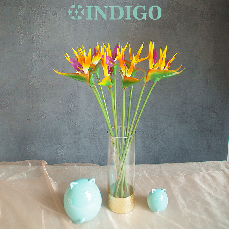 INDIGO- 5 st. Sunset Bird of Paradise Orchid Bouquet Real Touch Bröllop Blomma Konstgjord Blomst Floral Event Party Gratis frakt