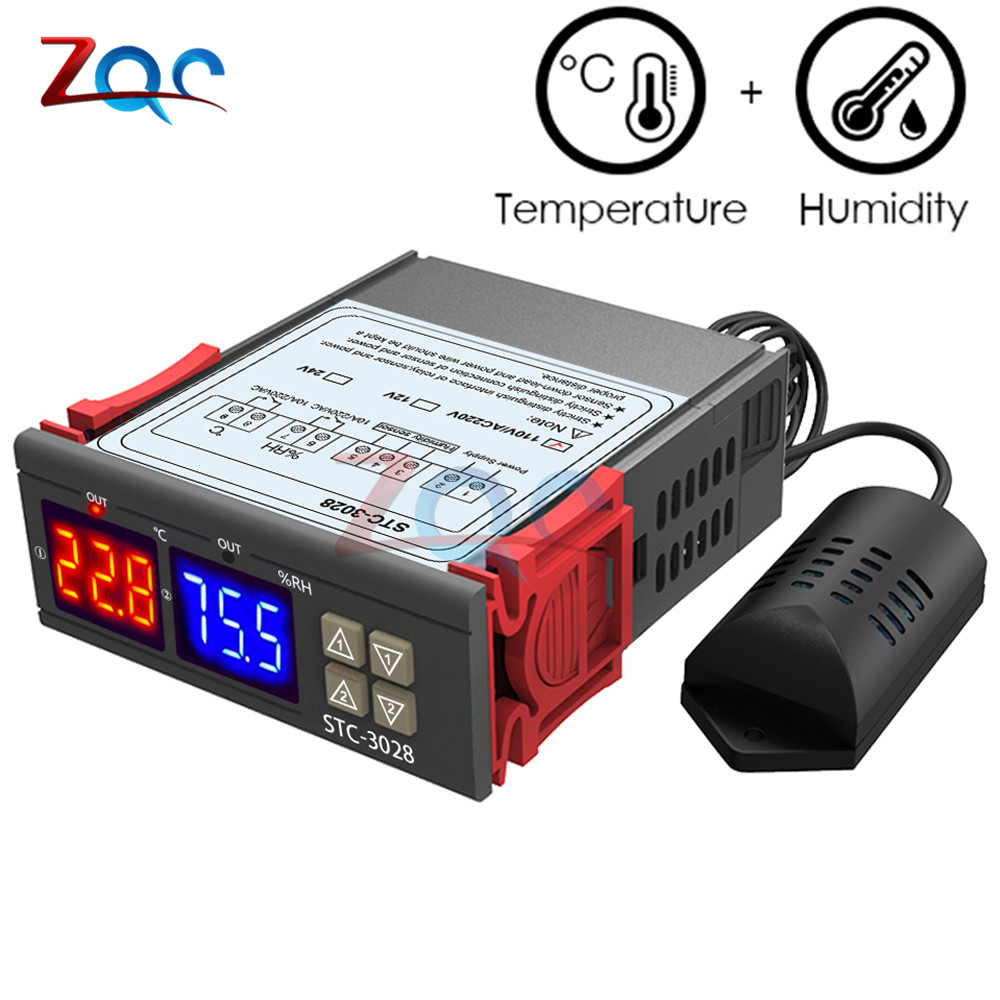 110V 220V DC 12V 24V Digital Temperature Humidity Controller Thermometer Hygrometer Incubator Dehumidifier Thermostat Humidistat