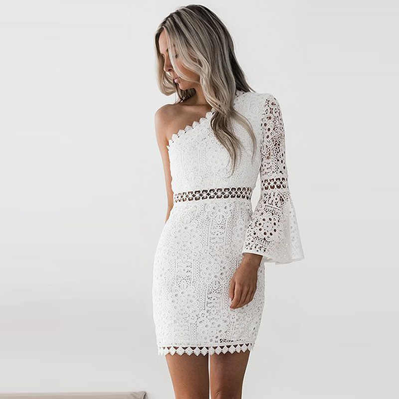 2018 Summer Women Sexy White Floral Lace Dress Slim Bodycon One Shoulder  Long Flare Sleeve Hollow 1721675a9583