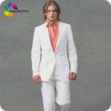 White Mens Wedding Suits Slim Fit Groom Tuxedos Wide Peaked Lapel 2Piece Terno Masculino Costume Homme Mariage Man Blazer Jacket