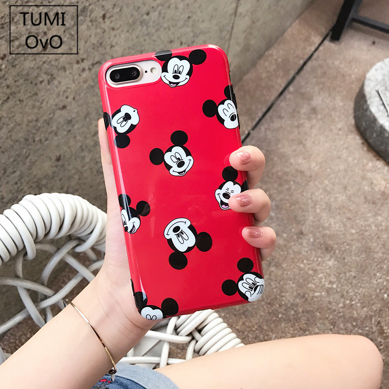 For iPhone X 10 Cartoon China Red Mickey Hear Case For iPhone 6 6s Plus 7 Plus Soft TPU Silicon IMD Cases Back Phone Cover