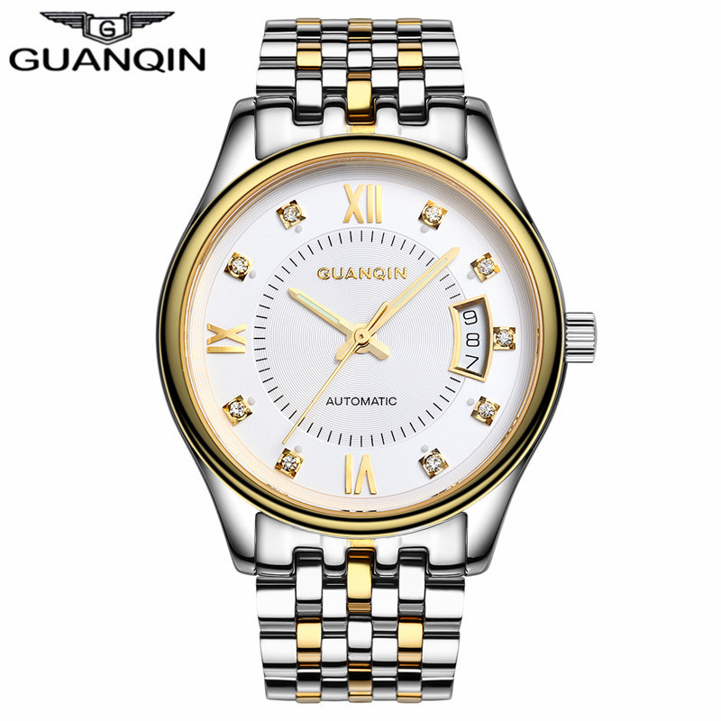 GUANQIN Men's Watch Luxury Famous Brand Watch Automatic Self-Wind Luminous Stainless Steel Mechanical Wristwatches Montre Homme hot sale famous bp brand princess butterfly lady lucky clover watch austrian crystal automatic self wind wrist watch
