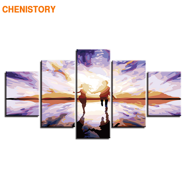 CHENISTORY Frame 5panel Lovers Diy Painting By Numbers Modern Home Wall Art Canvas Acrylic Paint By Numbers For Home Decor Arts