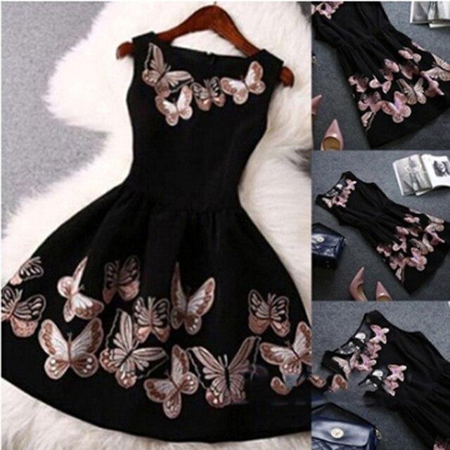 Female Lady O-Neck Slim Big Swing Ball Gown Dress Vestido Women Fashion Party Dress Sleeveless Back Zipper Butterfly Print Dress 1