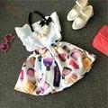2 pcs Set Roupas Meninas Infantil Da Criança Do Bebê Ternos Tops T-shirt + Vestido Novo Crianças Roupas de Verão Definido criança Traje Da Princesa