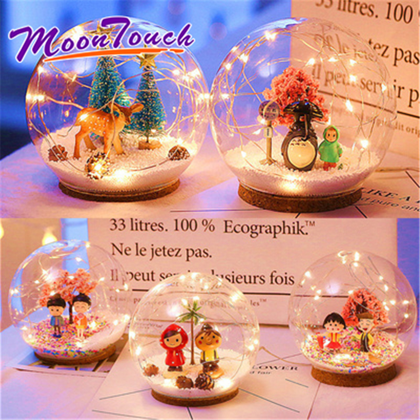 12cm Diameter Crystal Ball Nordic Style LED Lights Room Layout Chic Glass Ball Fresh Decorative Battery Light Home Decoration