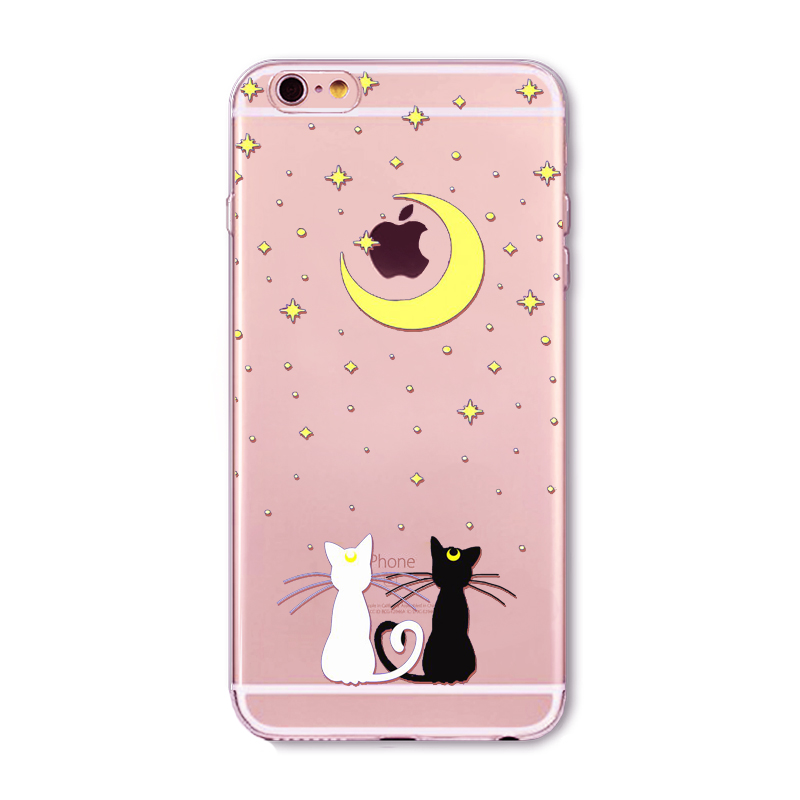 Cartoon Cute Lovely Cat Paitned For iphone 6 6s 5 5s SE 4 4s Clear Soft Silicon Back Cover Case Funda Coque Clear TPU cases