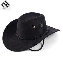 e13f711362 Venta caliente nueva moda Unisex occidental sombrero de vaquero sólido  turística al aire libre de ala ancha Jazz Gorras envío gr.