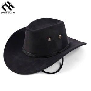 ebdaf003 Evrfelan Unisex Western Cowboy Hat Solid Tourist Caps