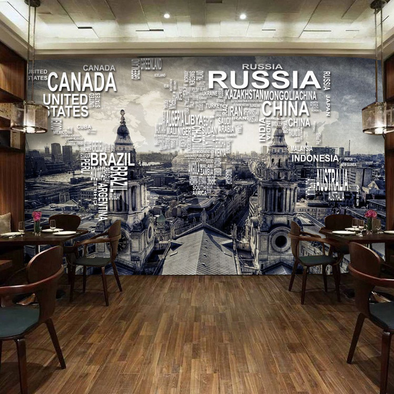 World map wallpaper mural wall wallpaper nostalgic vintage for Antique mural wallpaper