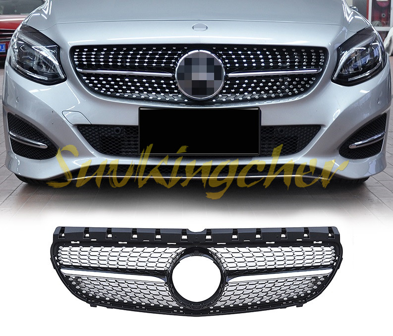 abs chrome fit mercedes benz w246 b200 b class 2013 2014 2015 2016 2017 front mesh front grille. Black Bedroom Furniture Sets. Home Design Ideas