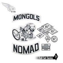 המונגולים MC תיקוני Biker חזרה Nomad נדנדה תיקון משלוח רוכב אופנוע רקום מעיל אפוד תג חזרה גודל ברזל על