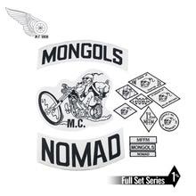 Mongolen Mc Patches Biker Terug Nomad Rocker Patch Gratis Rider Motorfiets Geborduurde Jas Vest Badge Terug Maat Ijzer Op
