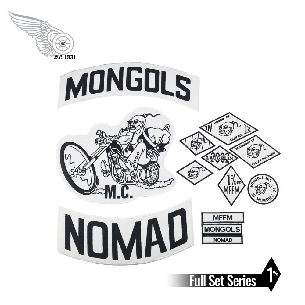 Veste brodée de motard Mongols MC, Patch à bascule Nomad au dos, Badge gratuit pour motard