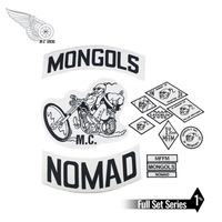Mongols MC Patches Biker Back Nomad Rocker Patch Free Rider Motorcycle Embroidered Jacket Vest Badge Back Size Iron On