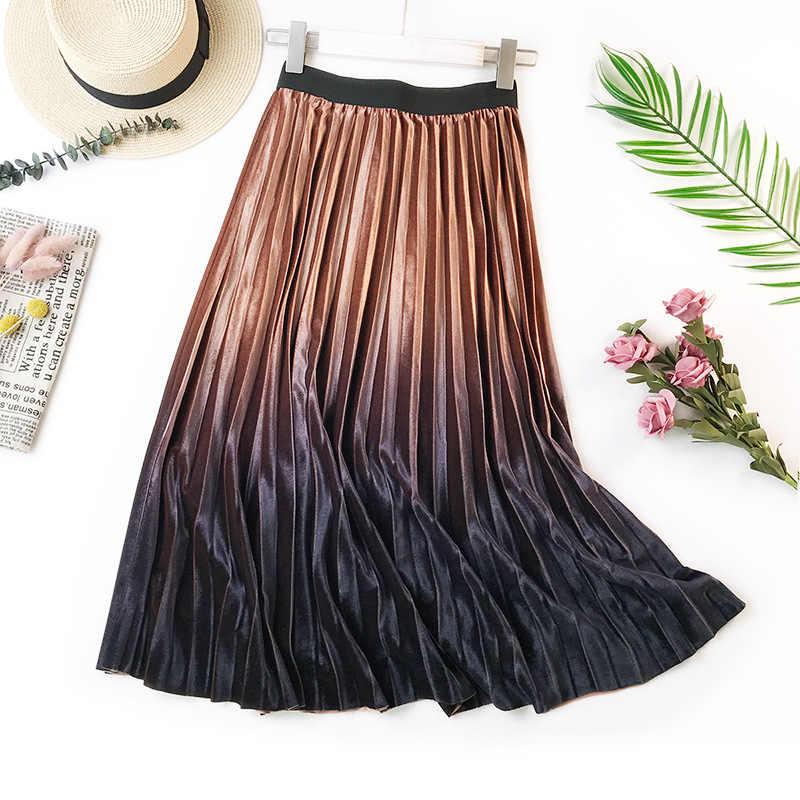 202f5abdd ... Velour Skirt women Pleated skirt Gradient velvet skirt party skirts  A-Line Faldas Mujer midi ...
