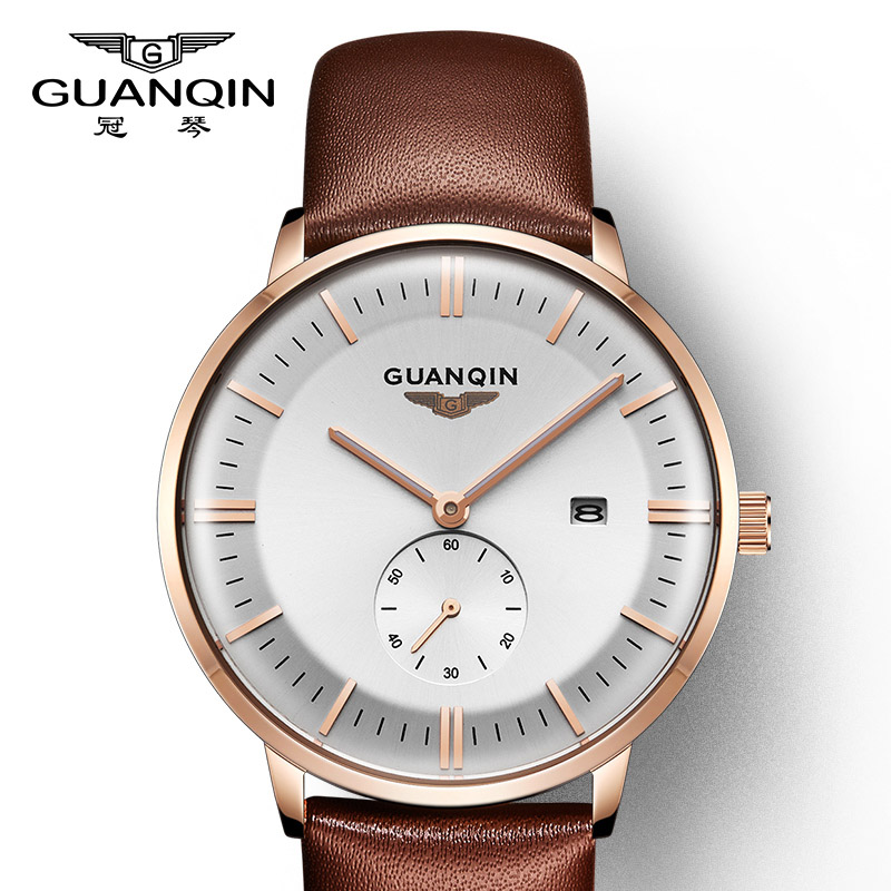 GUANQIN New Retro Men's Watches Top Brand Luxury Quartz Watch Men Watches Calendar Luminous Small Second hand relogio masculino цена 2017