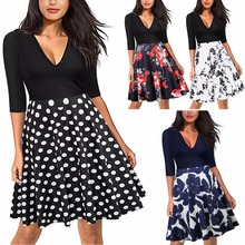Spring and summer new fashion stitching wave female dress printing point high waist casual loose ladies