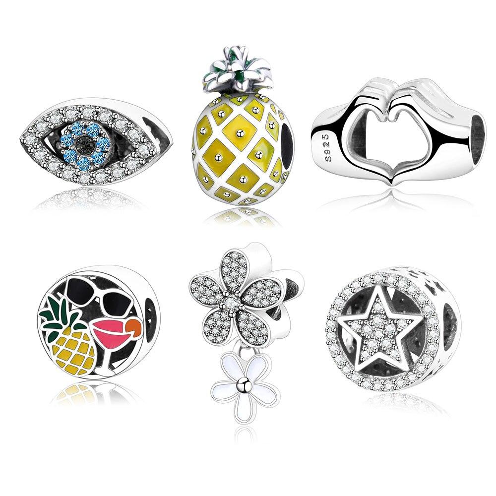 2017 Winter Collection DIY di Fascino Fit Originale Pandora Charms Bracciale 925 Sterling Silver Cuore Mano/Occhi/Stelle/Perline fiore Regalo