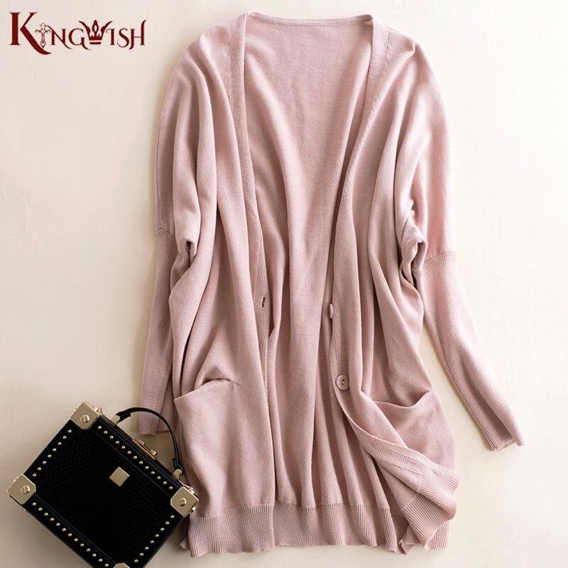 Tavaszi őszi női kardigán, hosszú rózsaszínű, szuper laza - Női ruházat