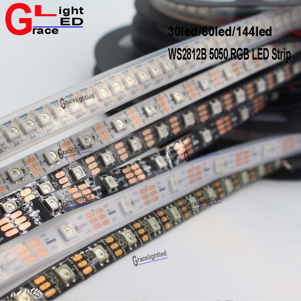 5M 150//300LED WS2812B//WS2811 5050SMD Addressable Strip Light Nice@R