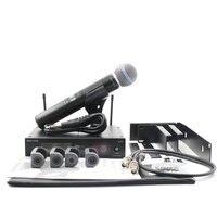 Slx24/beta58 uhf profissional handheld sistema de microfone sem fio com rack suporte montagem kits rack microfone