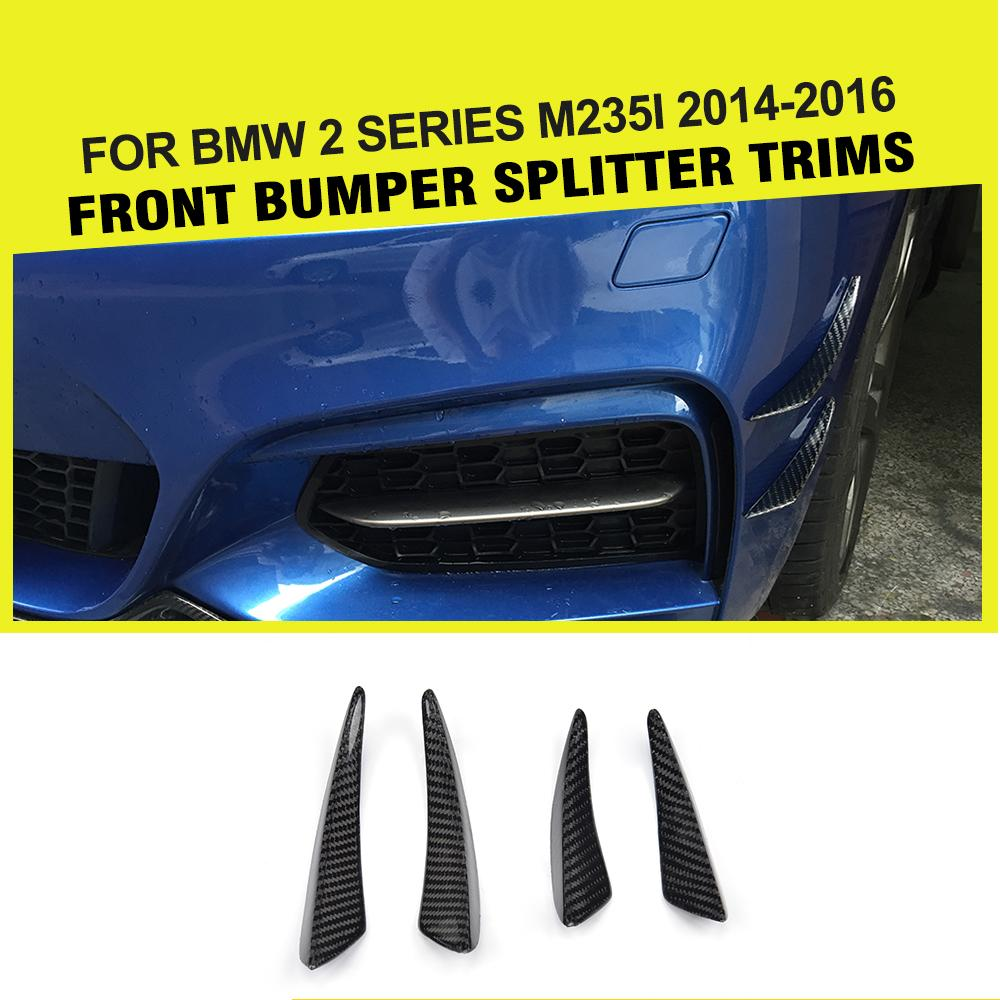 4PCs/Set Carbon Fiber front bumper Fins decoration Canards Trims for BMW 2 Series F22 M235i / M2 2014-2016 Car Styling 4pcs set wrc bumper strip carbon fiber