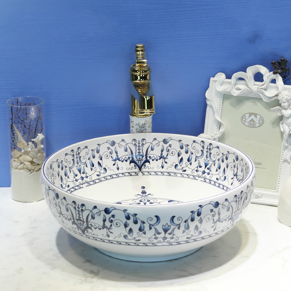 Bathroom Lavabo Ceramic Counter Top Wash Basin Cloakroom Hand Painted Vessel Sink Vintage Lo72148