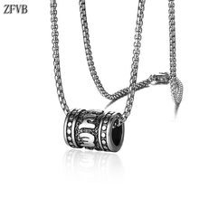 ZFVB Vintage Om Mani Padme Hum Necklace for Men Chain Stainless Steel Religious Pendant Necklaces Male Prayer Jewelry