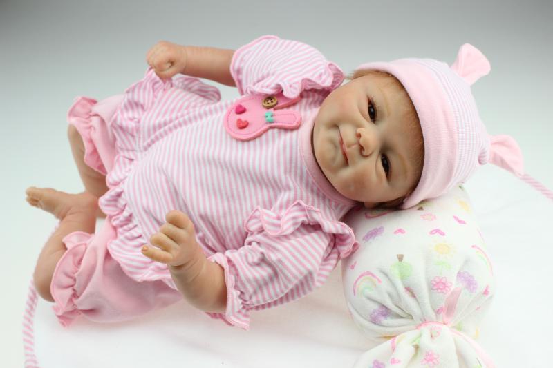 45CM Reborn dolls babies full handmade Brown eyes silicone vinyl newborn baby...