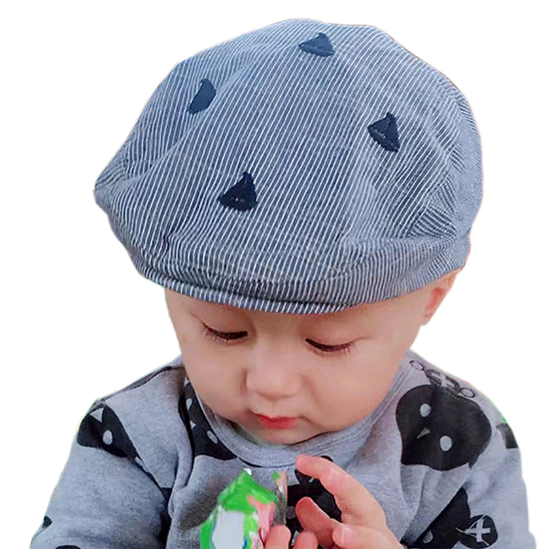 Baby Boy Sailboat Embroidered Stripe Beret Hat Spring Summer England Style Kids Caps Casual Classic Cotton Infant Beanie Cap